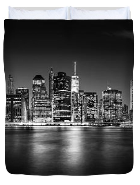 Manhattan Skyline At Night Duvet Cover