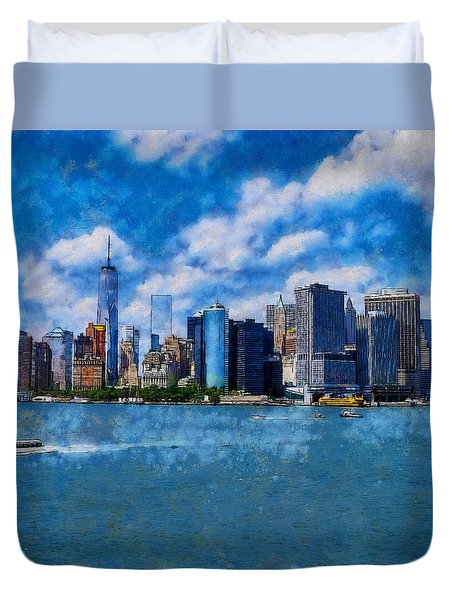 Duvet Cover featuring the digital art Manhattan Skyline by Kai Saarto