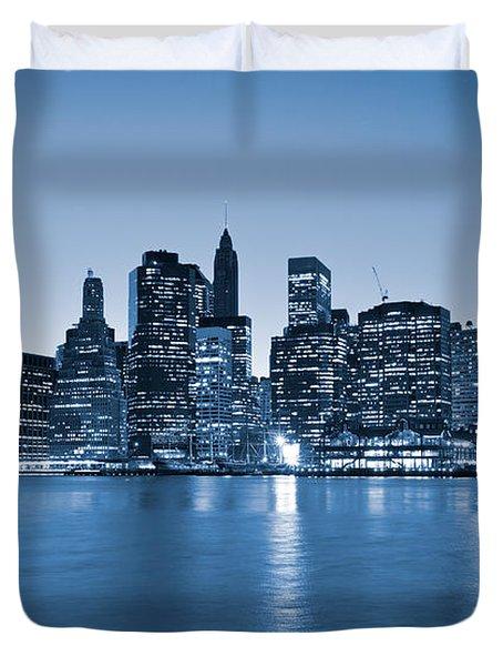 Manhattan Skyline Duvet Cover by Luciano Mortula