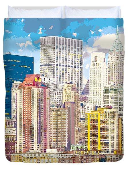 Manhattan Skyline New York City Duvet Cover