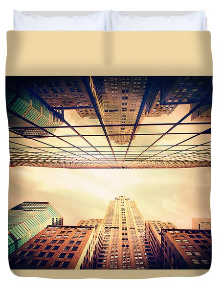 Duvet Cover featuring the photograph Manhattan Skyline Reflections by Jessica Jenney