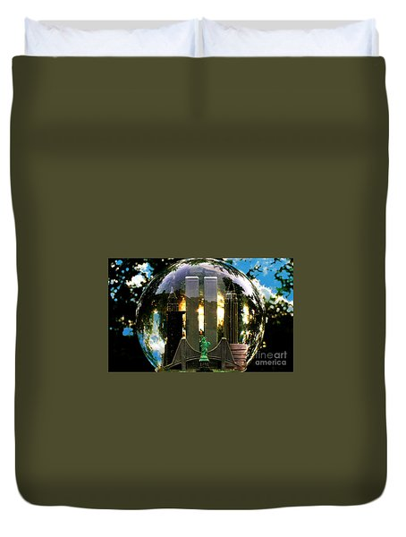 Manhattanhenge Snow Globe Duvet Cover