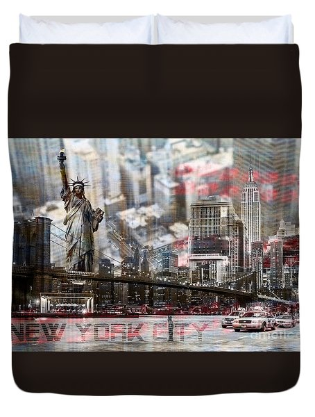 Duvet Cover featuring the photograph Manhatten From Above by Hannes Cmarits