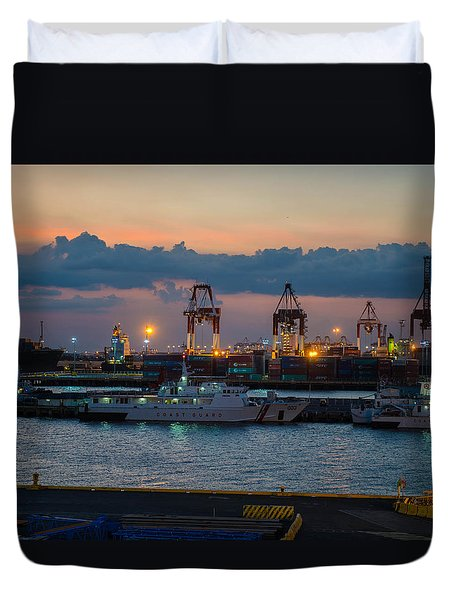 Manila Port Duvet Cover