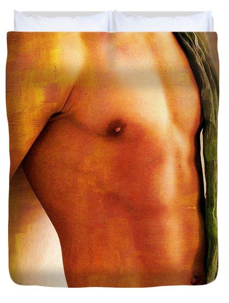 Manipulation In Yellow Duvet Cover by Mark Ashkenazi