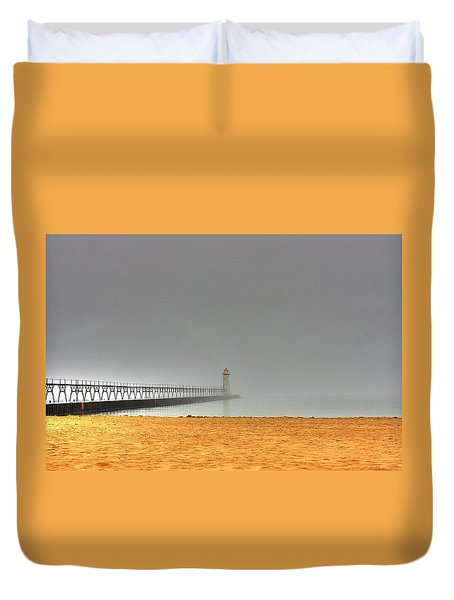 Manistee Light And Fog Duvet Cover