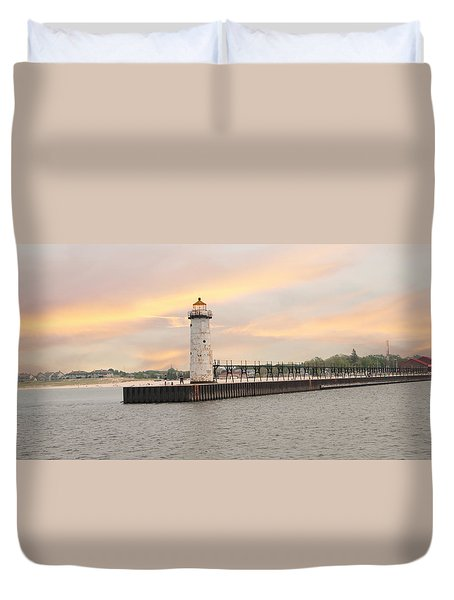 Manistee North Pierhead Lighthouse Duvet Cover