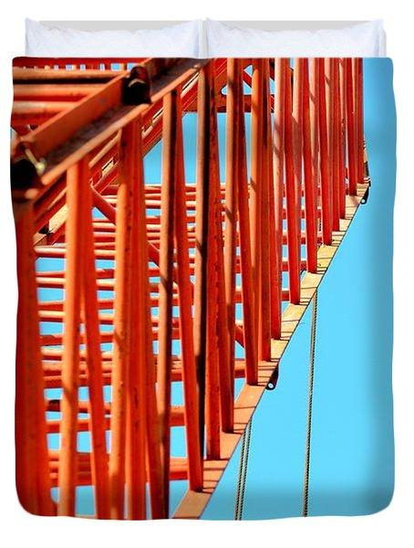 Manitowoc Red Boom Block And Hook Duvet Cover by Maria Urso