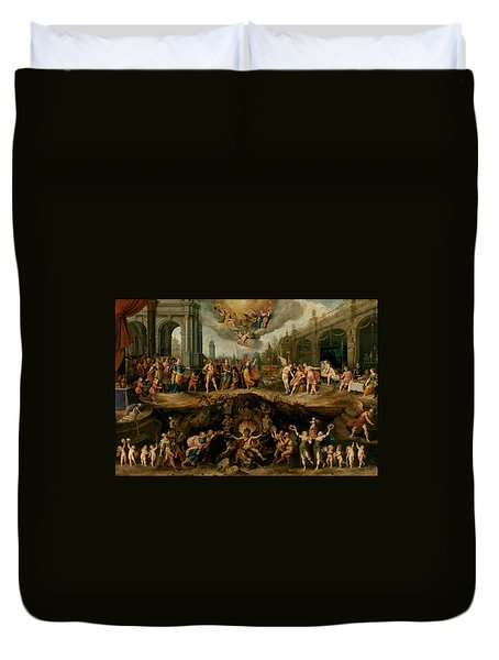 Mankind's Eternal Dilemma, The Choice Between Virtue And Vice Duvet Cover