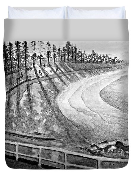 Manly Beach In Black And White Duvet Cover