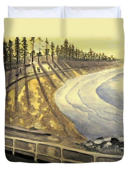 Manly Beach Sunset Duvet Cover by Leanne Seymour