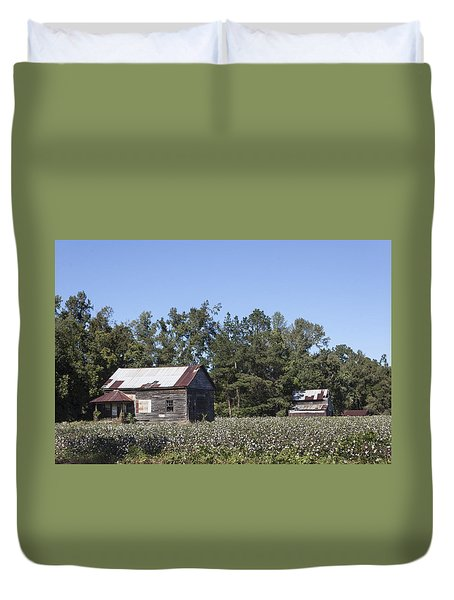 Manning Cotton Field With Barns Duvet Cover