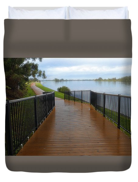 Duvet Cover featuring the photograph Manning River Walk Way 01 by Kevin Chippindall