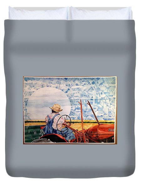Manny During Wheat Harvest Duvet Cover by Lance Wurst