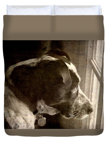 Mans Best Friend Sepia II Duvet Cover by Suzanne Powers