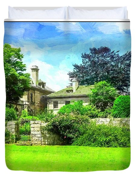 Mansion And Gardens At Harkness Park. Duvet Cover