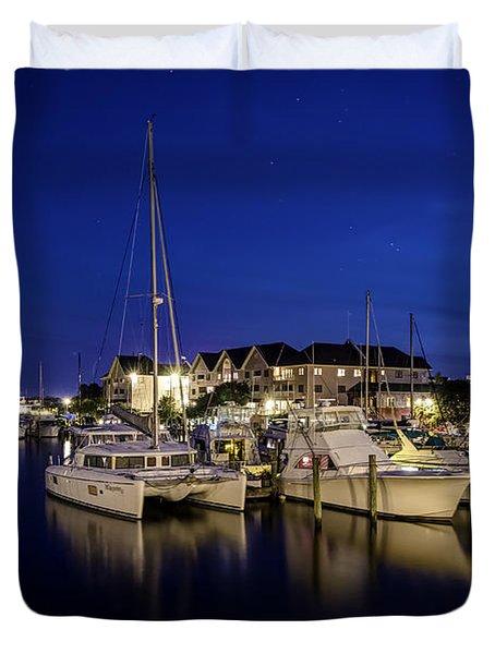 Manteo Waterfront Marina At Night Duvet Cover