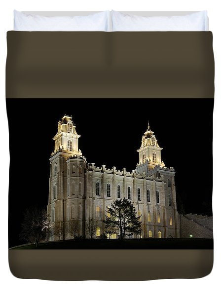 Manti Temple Night Duvet Cover