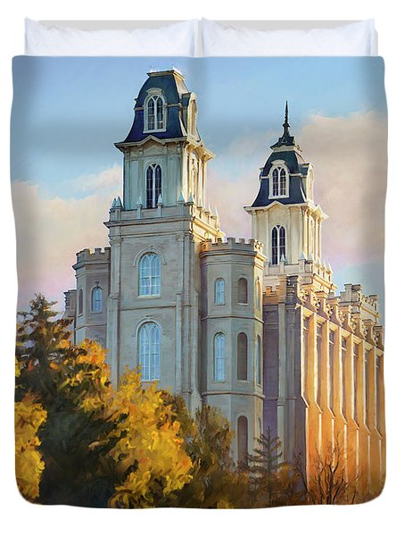 Manti Temple Tall Duvet Cover by Rob Corsetti