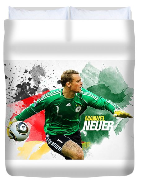 Manuel Neuer Duvet Cover by Semih Yurdabak