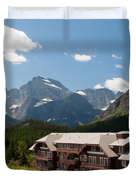 Many Glacier Hotel Duvet Cover by Bruce Gourley