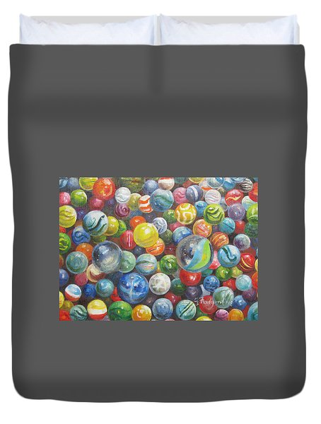 Duvet Cover featuring the painting Many Marbles by Oz Freedgood