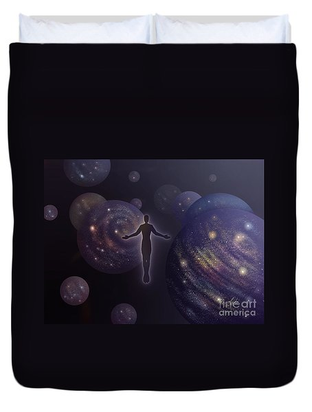 Duvet Cover featuring the painting Many Worlds by Amyla Silverflame