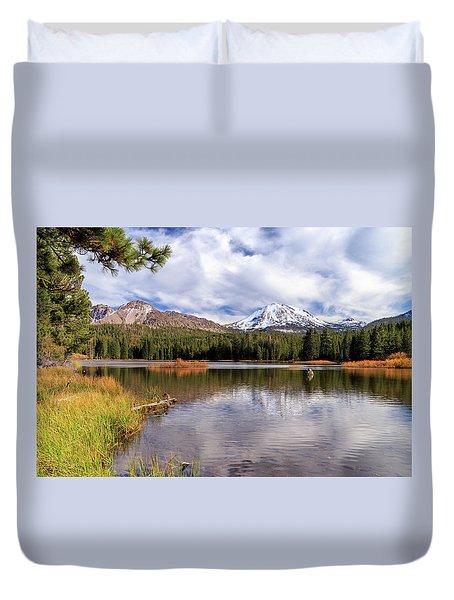 Manzanita Lake - Mount Lassen Duvet Cover by James Eddy