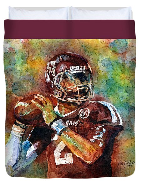 Duvet Cover featuring the painting Manziel by Hailey E Herrera