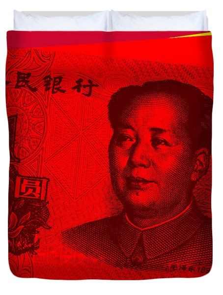 Duvet Cover featuring the digital art Mao Zedong Pop Art - One Yuan Banknote by Jean luc Comperat