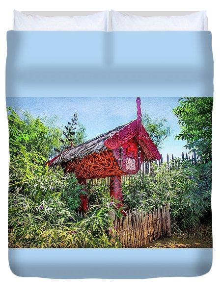 Maori Home In New Zealand Duvet Cover