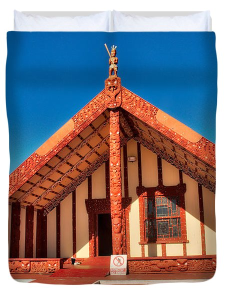 Duvet Cover featuring the photograph Maori Meeting House by Mark Dodd