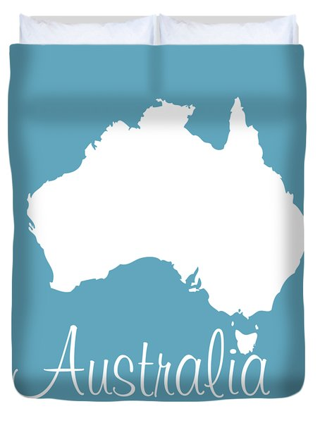 Map Of Australia - White Duvet Cover
