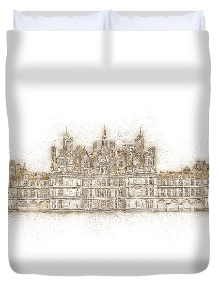 Map Of The Castle Chambord Duvet Cover