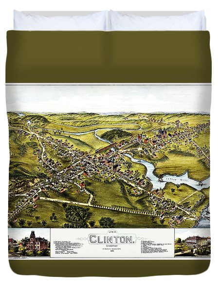 Map Of Clinton Connecticut 1881 Duvet Cover