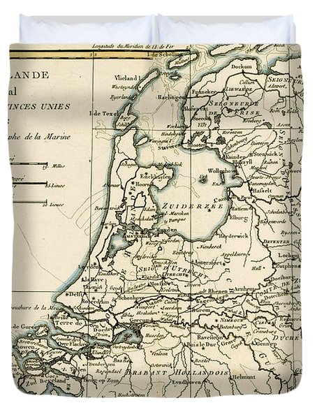 Map Of Holland Including The Seven United Provinces Of The Low Countries Duvet Cover by Guillaume Raynal