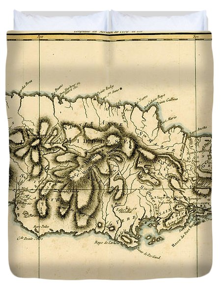 Map Of Jamaica Duvet Cover by Guillaume Raynal