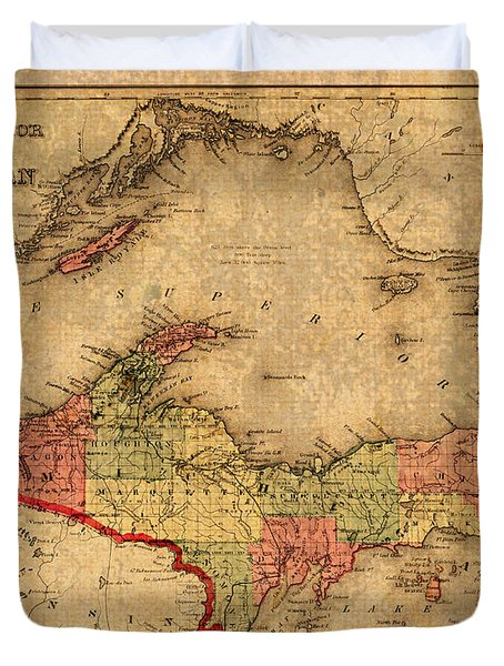 Map Of Michigan Upper Peninsula And Lake Superior Vintage Circa 1873 On Worn Distressed Canvas  Duvet Cover