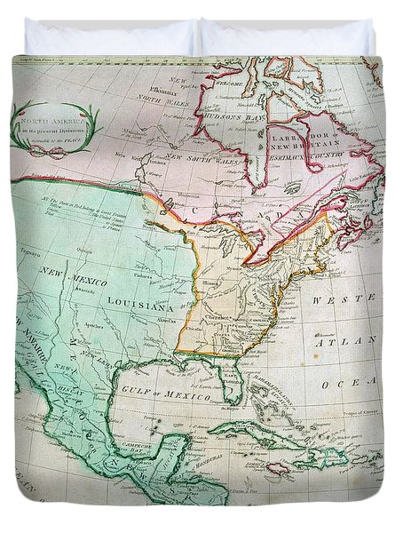 Map Of North America Duvet Cover by English School
