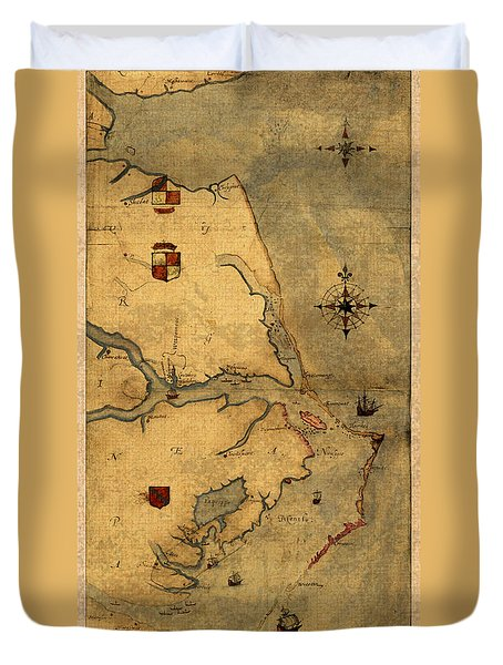 Map Of Outer Banks Vintage Coastal Handrawn Schematic On Parchment Circa 1585 Duvet Cover