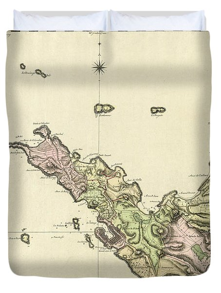 Map Of Saint Barts 1801 Duvet Cover