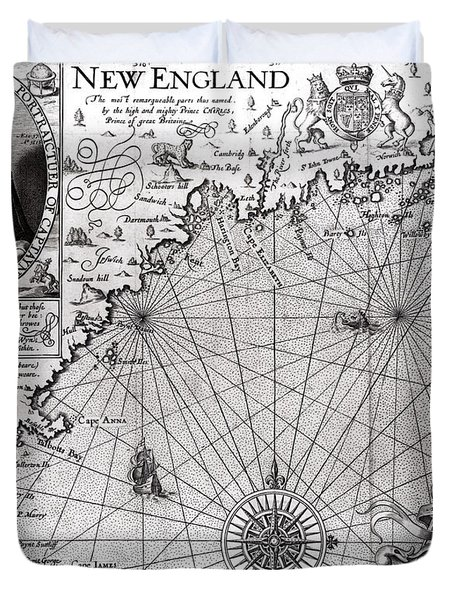 Map Of The Coast Of New England Duvet Cover by Simon de Passe