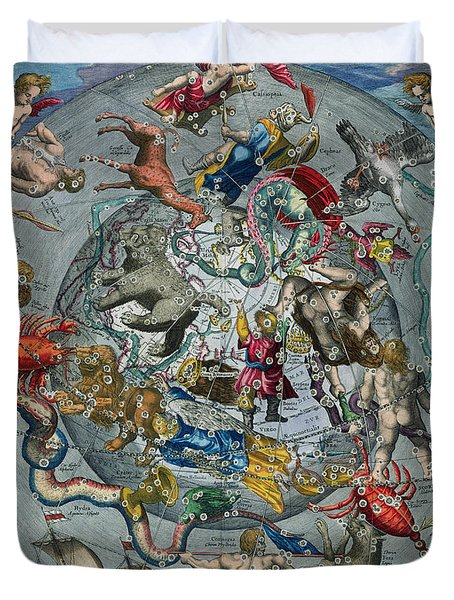 Map Of The Constellations Of The Northern Hemisphere Duvet Cover