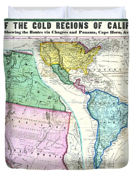 Map Of The Gold Regions Of California Duvet Cover