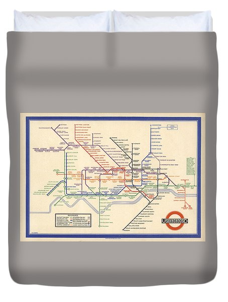 Map Of The London Underground - London Metro - 1933 - Historical Map Duvet Cover