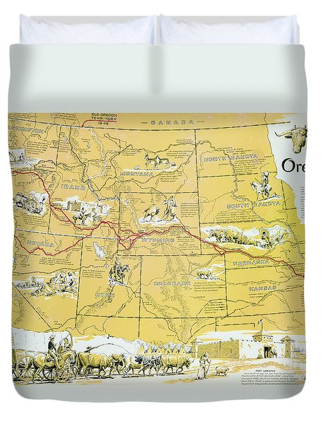 Map Of The Old Oregon Trail Duvet Cover