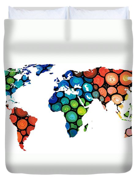 Map Of The World 1 -colorful Abstract Art Duvet Cover by Sharon Cummings