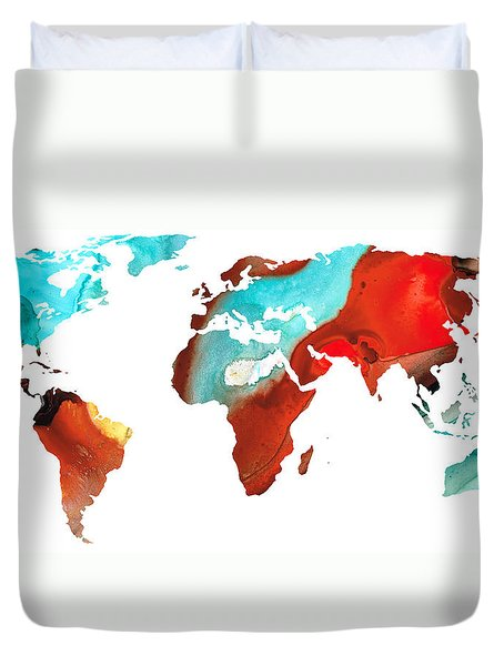 Map Of The World 4 -colorful Abstract Art Duvet Cover by Sharon Cummings