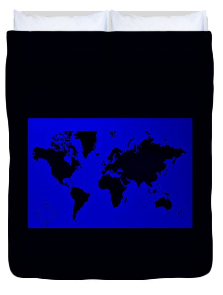 Duvet Cover featuring the photograph Map Of The World Blue by Rob Hans