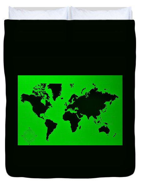Duvet Cover featuring the photograph Map Of The World Green by Rob Hans